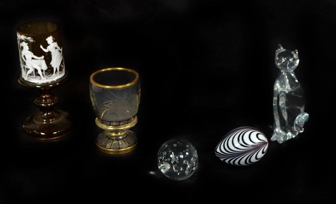 Five Decorative Glass Objects