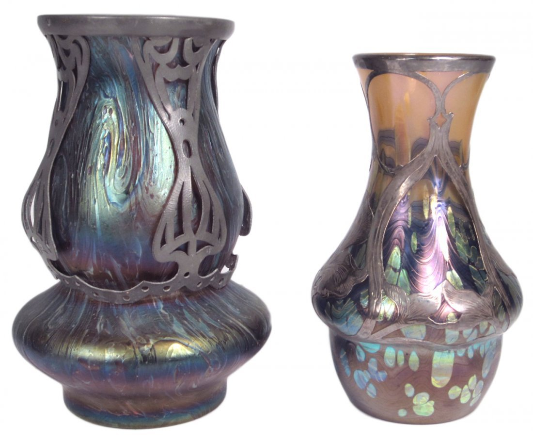 Two Favrile-Style Art Glass Vases