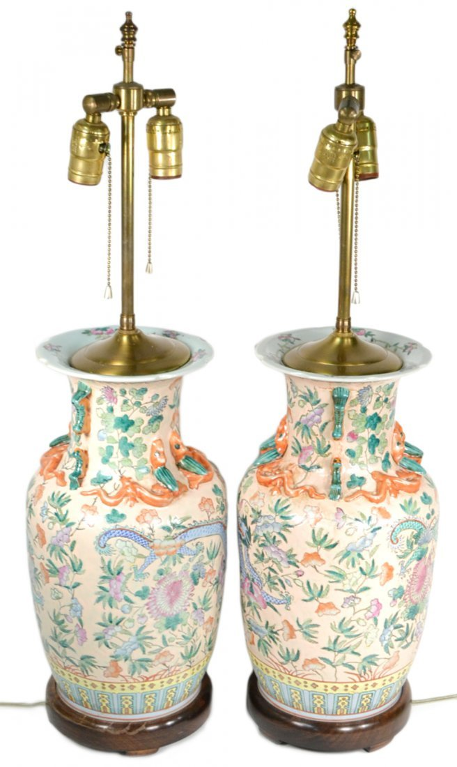 Pair Chinese Baluster Form Vase Lamps