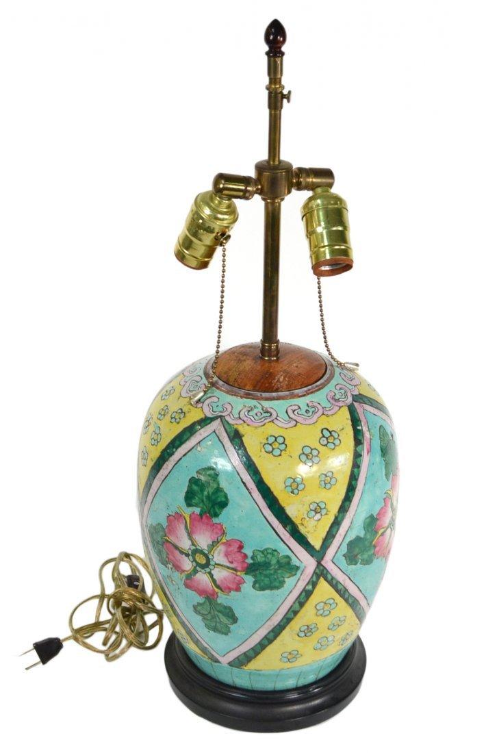 Chinese Glazed Porcelain Vase Lamp