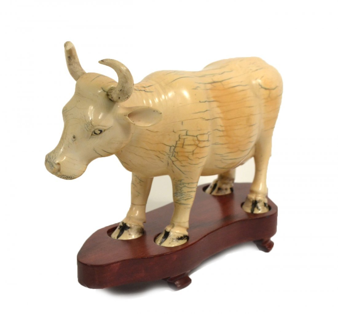 Vintage Carved Ivory Asian Cow