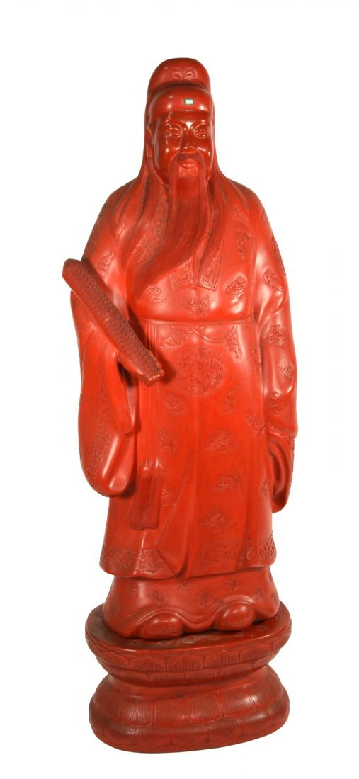 Asian Cinnabar Sculpture - Scholar