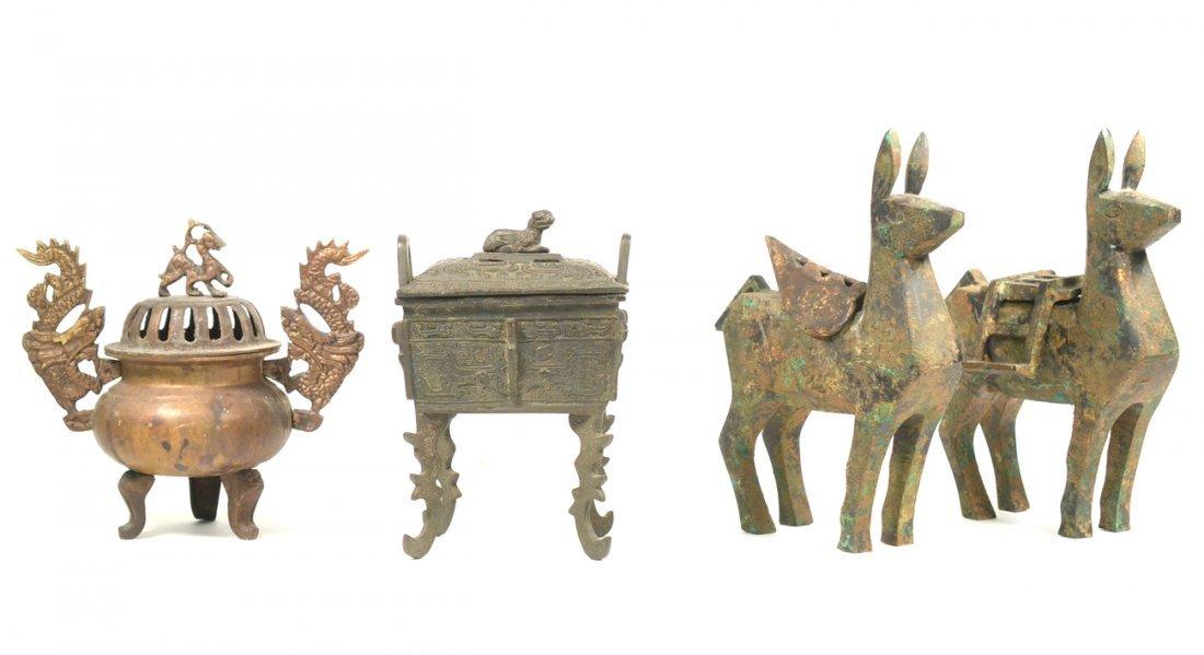 Four Asian Bronze Censers