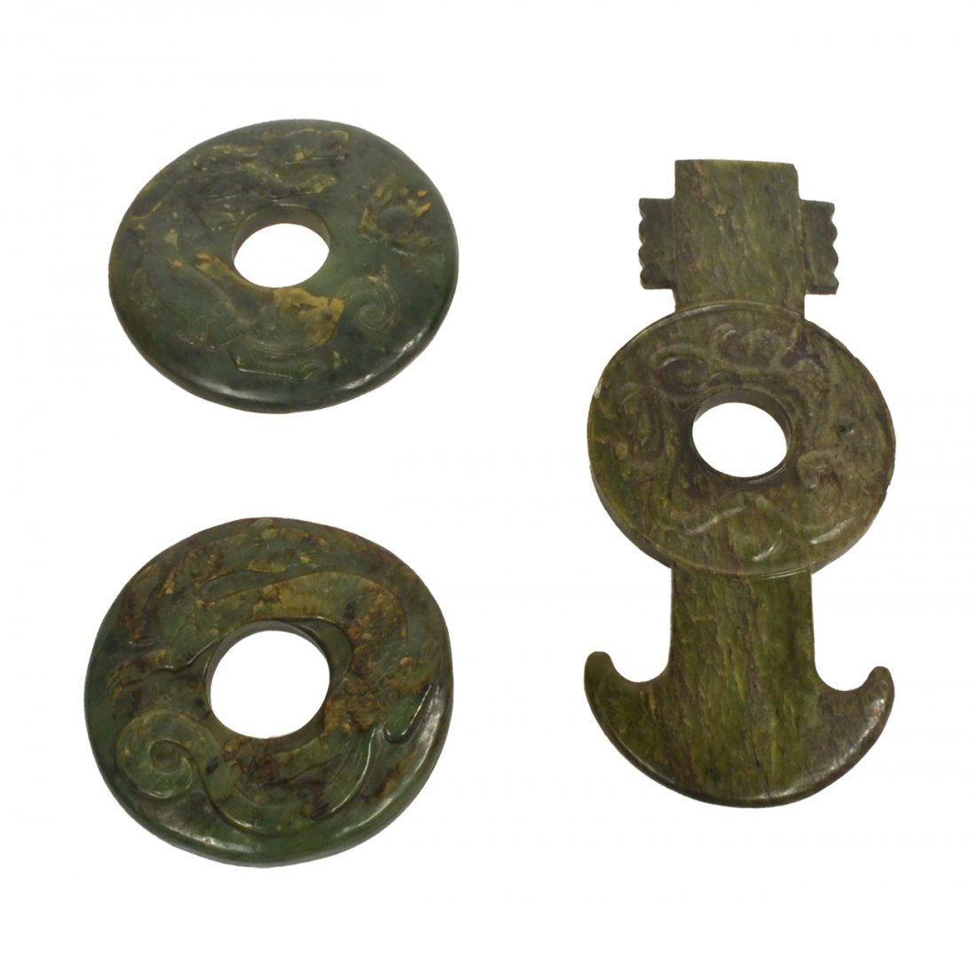 Three Chinese Green Stone Carvings