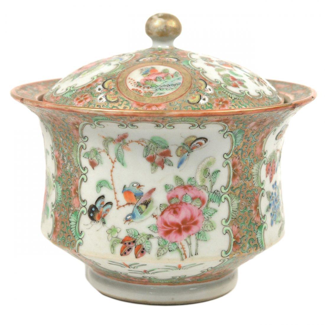 Chinese Rose Medallion Covered Bowl