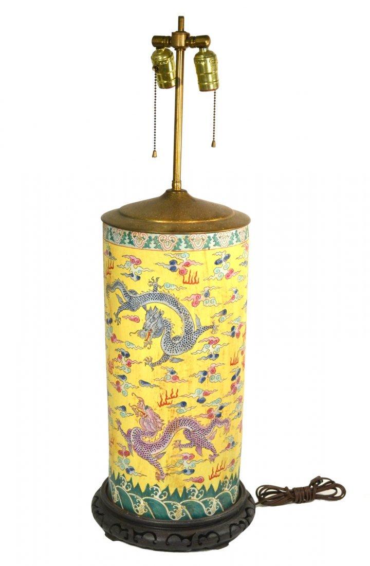 Large Chinese Vase Mounted as Lamp
