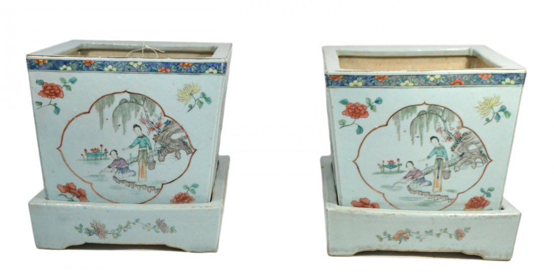 Pair of Antique Chinese Porcelain Jardinieres