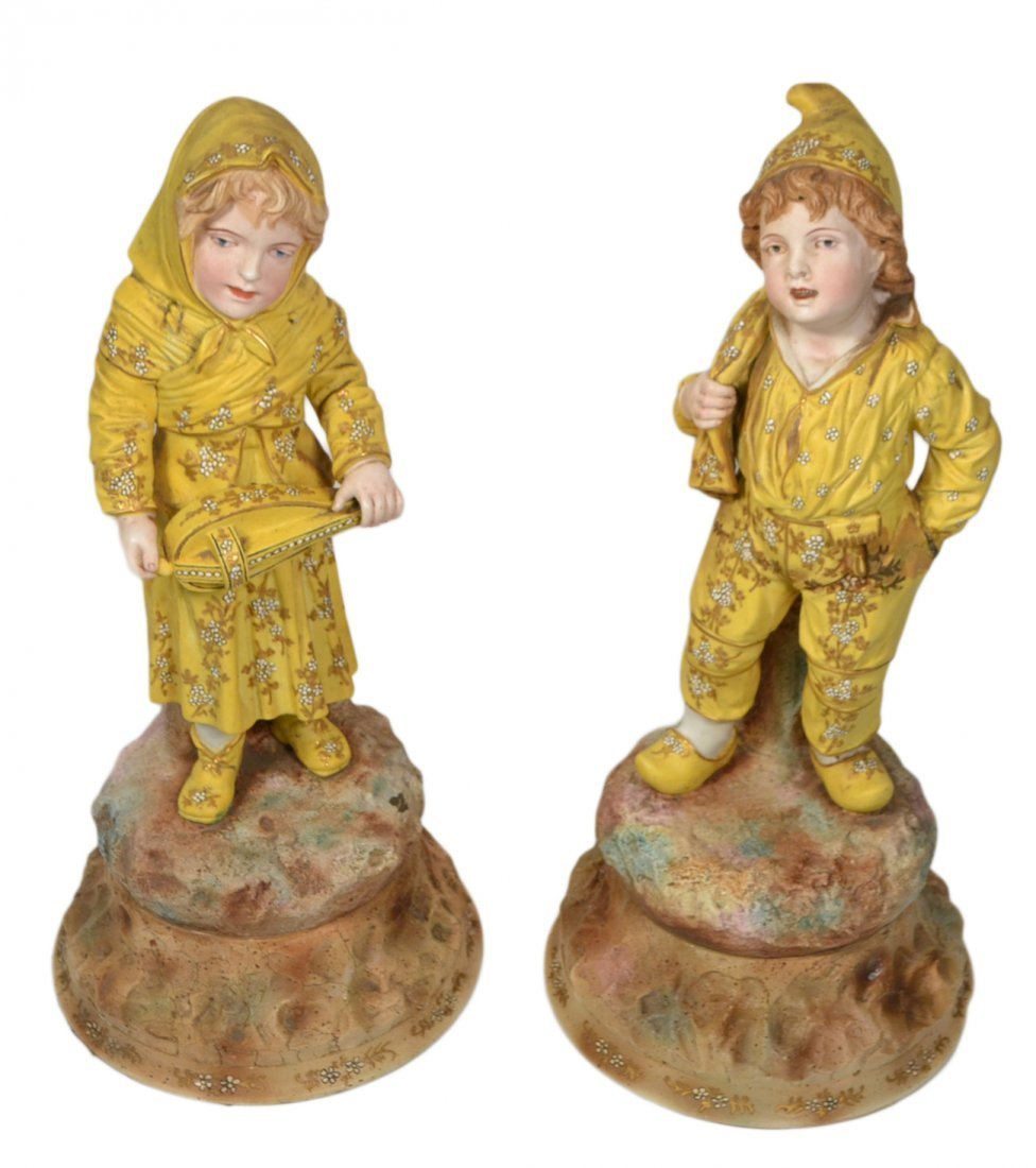 Pair Late Victorian Bisque Figures