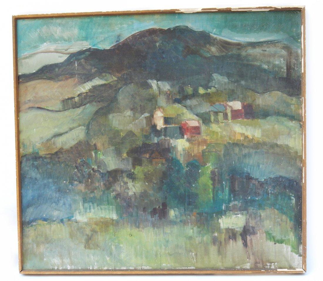 Vintage Oil on Canvas, Cubist Landscape