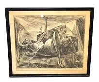 Framed Charcoal Abstract Nude