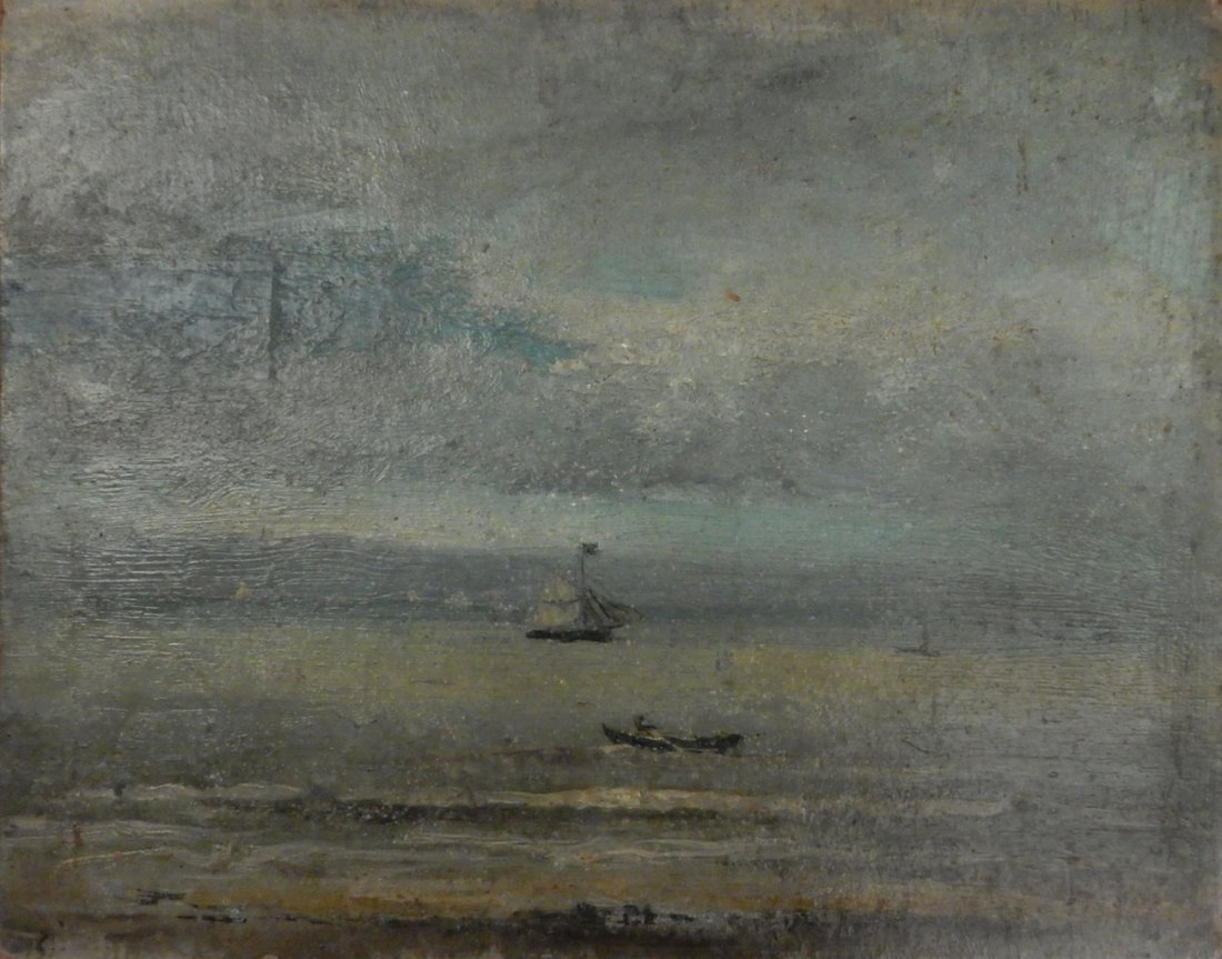 James Ensor, Oil on Cardboard - Seascape with Sailboat