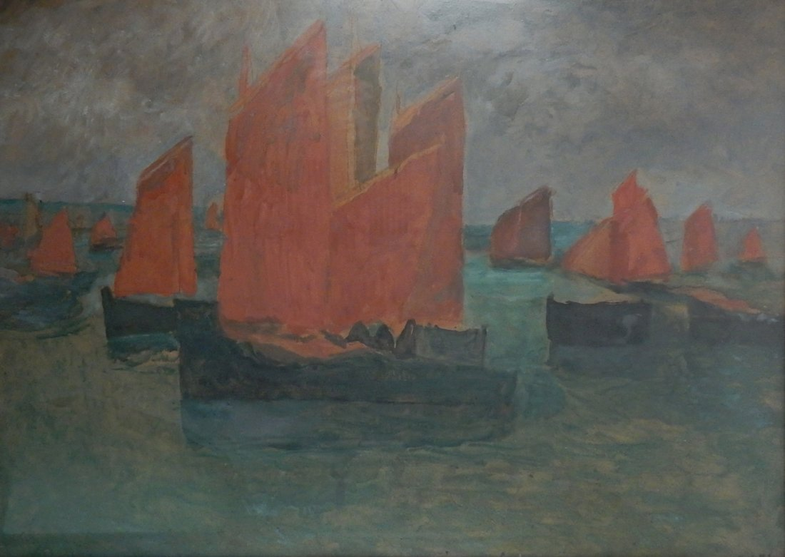 "Charles Cottet, Oil on Cardboard - ""Voiles Rouges"""