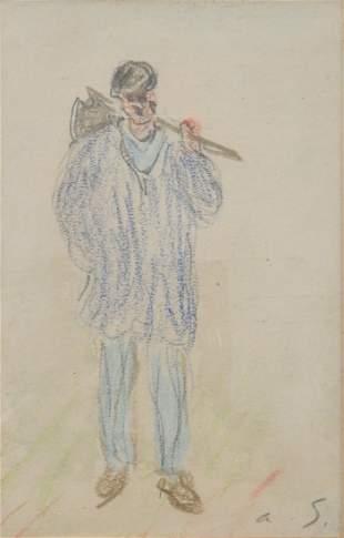 """Alfred Sisley, Crayon on Cardboard - """"Payson"""""""