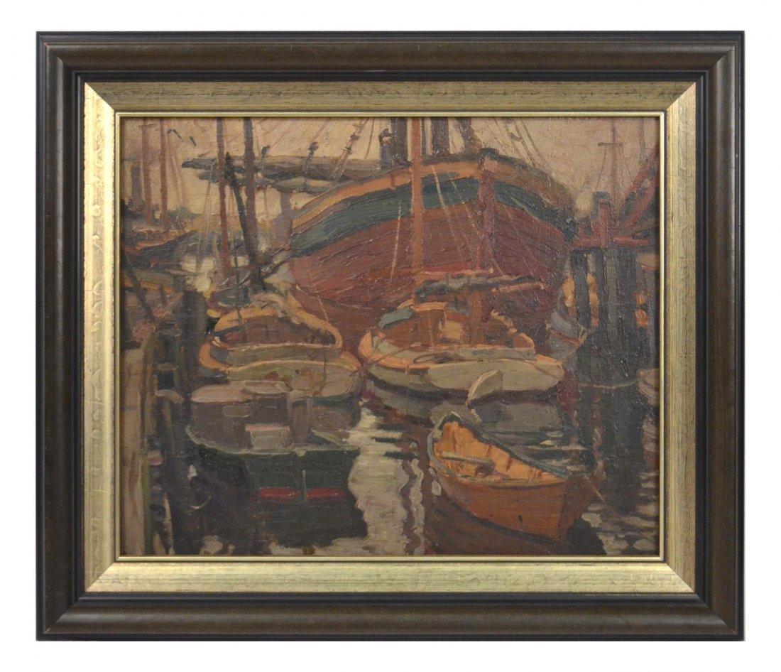 Docked Ships, Impressionist Oil on Board