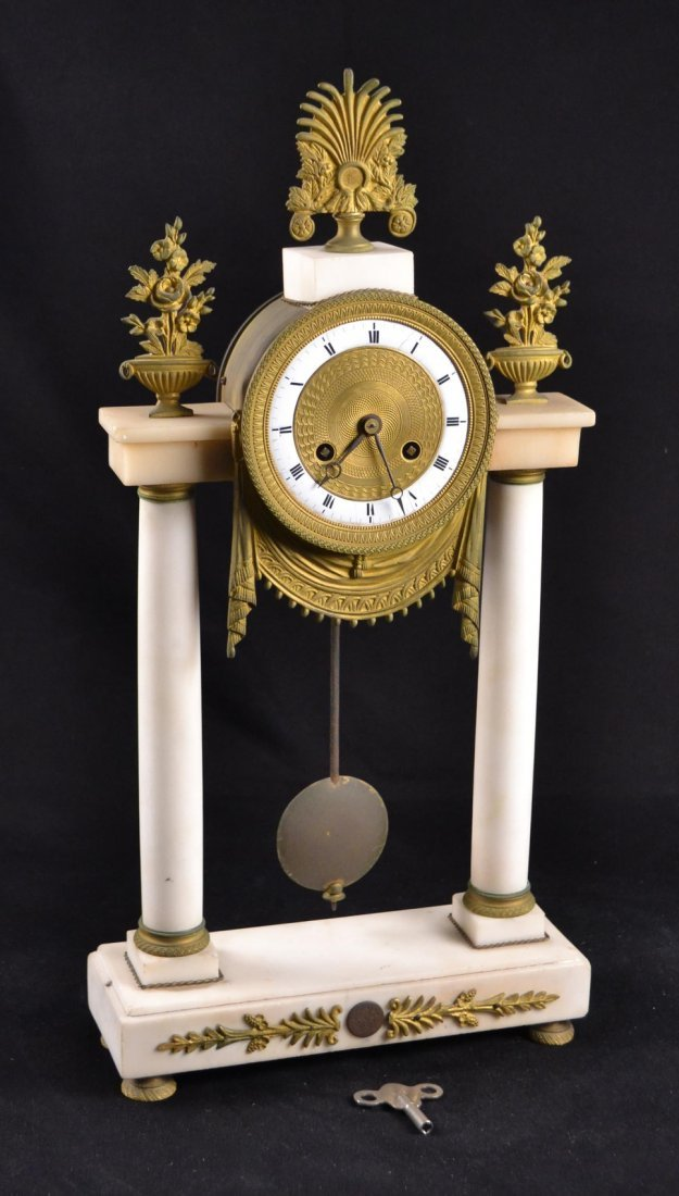 Marble and Bronze Empire Mantle Clock