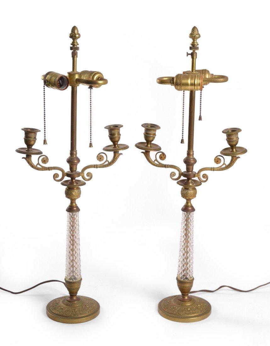 Pair of Bronze & Crystal Candelabra