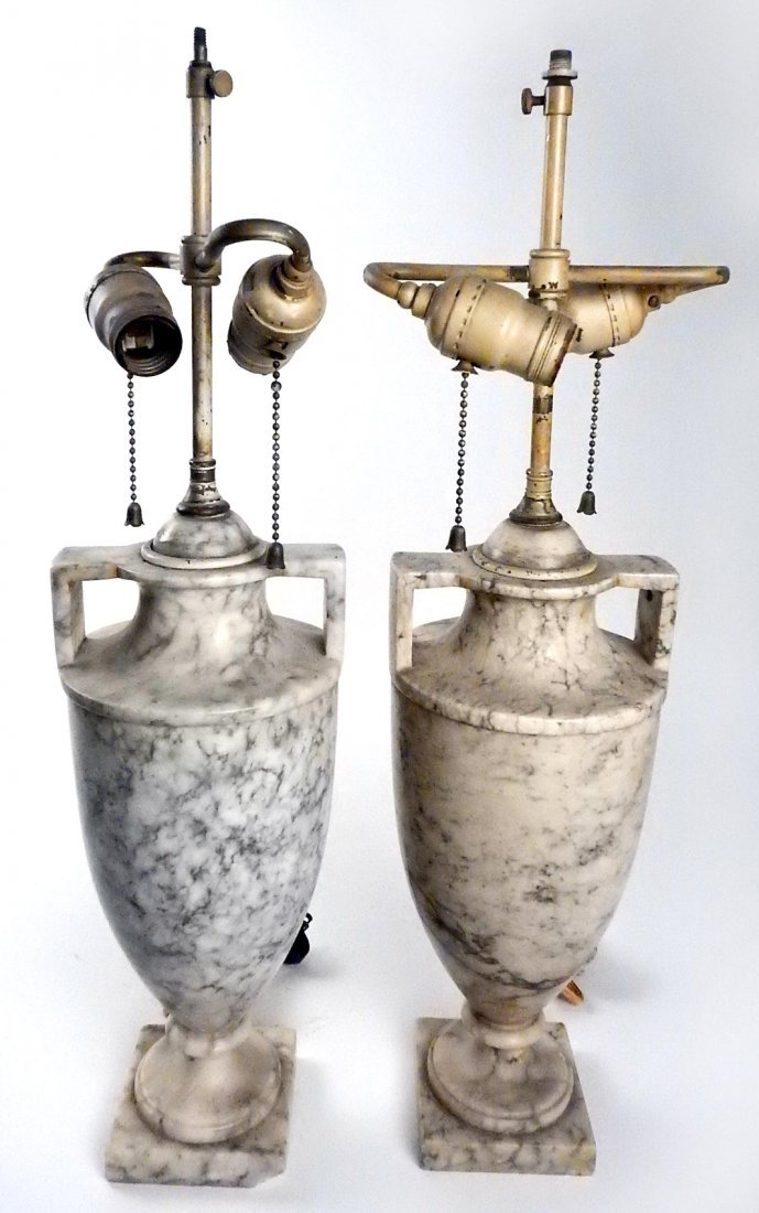 Pair of Marble Style Lamps