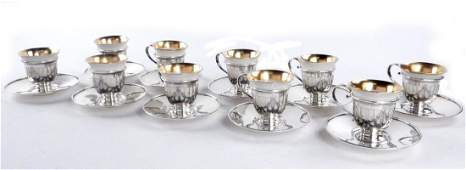 10 Gorham Sterling Lenox Demitasse Cups