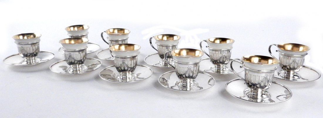 10 Gorham Sterling, Lenox Demitasse Cups