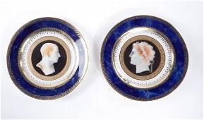 "Two Sevres Plates, ""Service Iconographique Grec"""