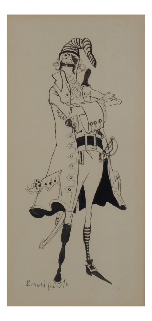Ronald Searle, Pirate - Pen and Ink