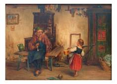 Oil on Board, Child with Guitar