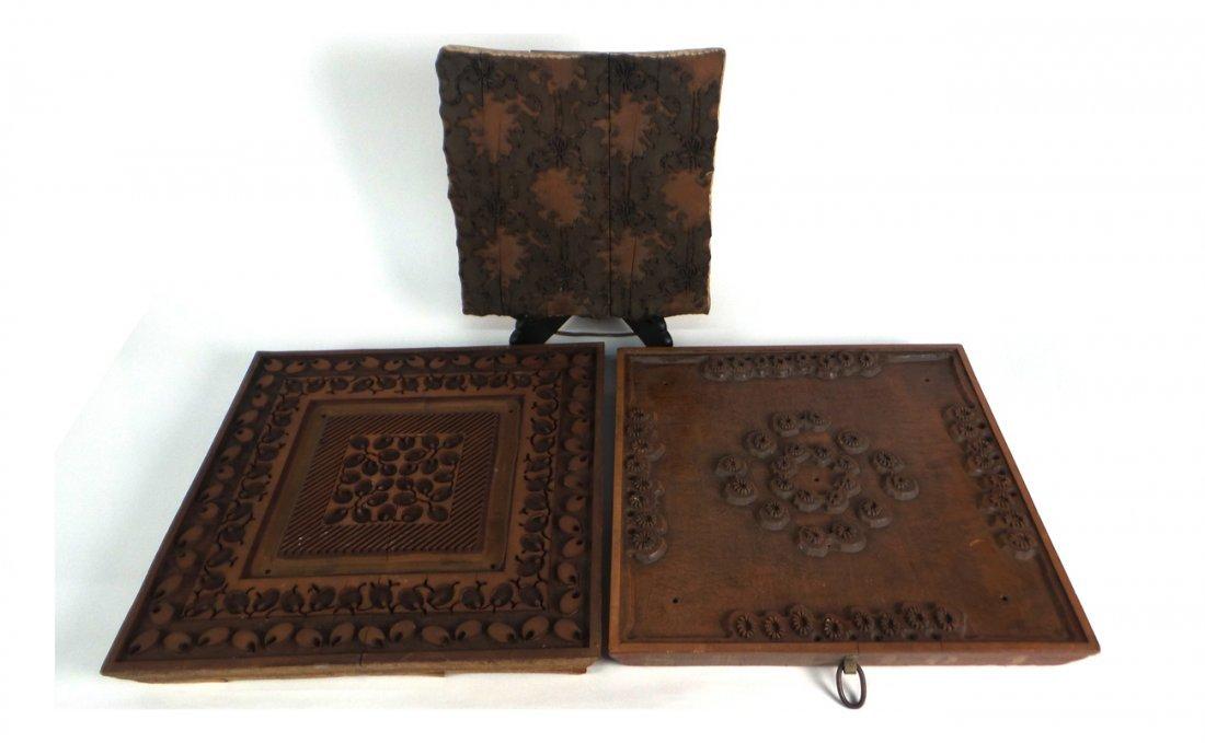 3 Carved Wood Printing Blocks