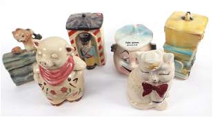 Six Early 20th C. Cookie Jars