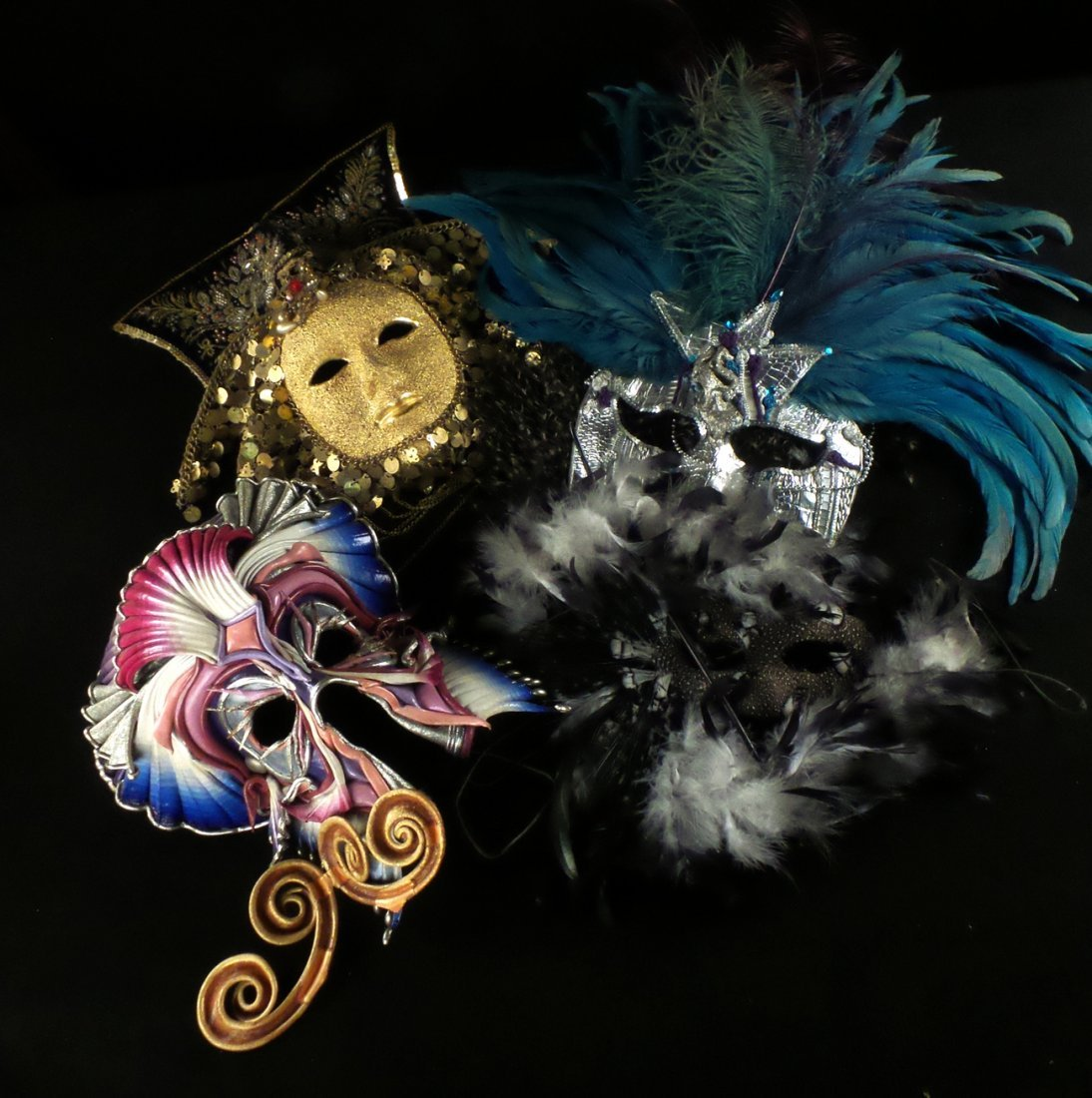 Nine Elaborate Carnival/Masquerade Masks - 4