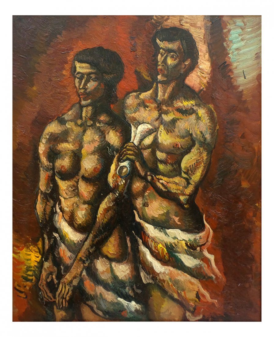 """Leon Kelly """"Adam and Eve"""", Oil on Canvas"""