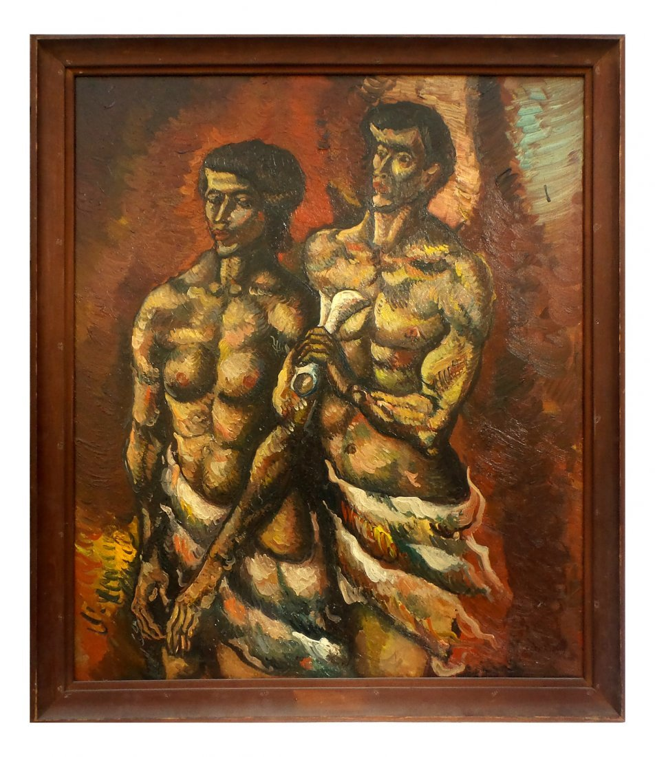 """Leon Kelly """"Adam and Eve"""", Oil on Canvas - 2"""