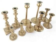 Group of Ten Brass Items Candlesticks