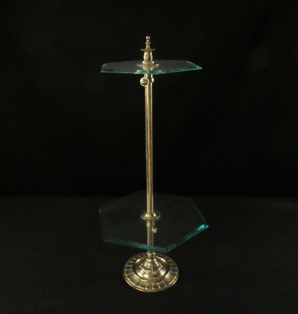 Hexagonal Brass and Glass Dessert Stand