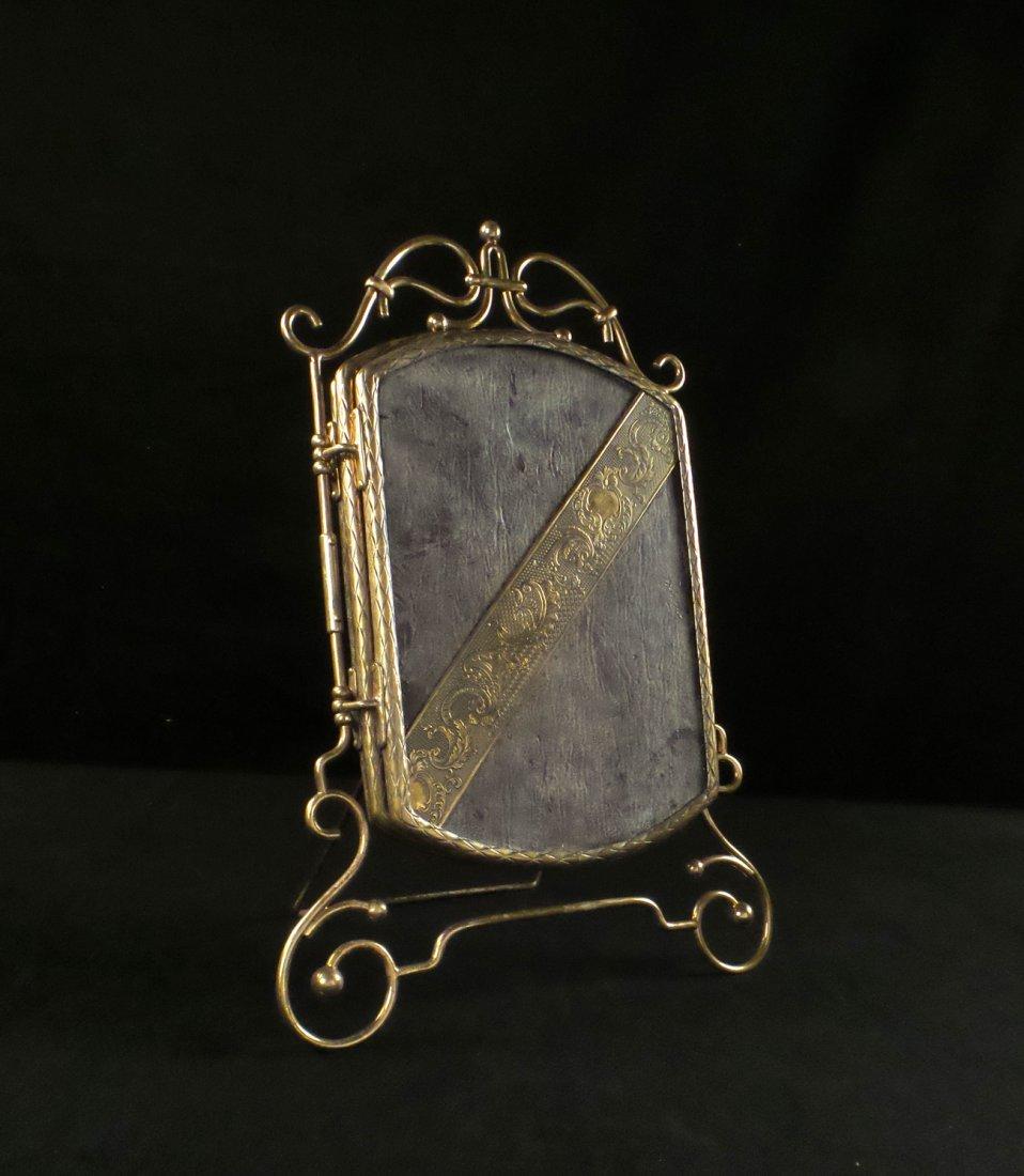 Brass Miniature Vanity Tri-Fold Mirror
