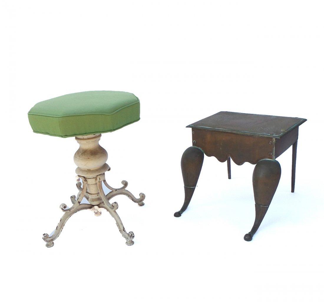 Brass Footman & Cast Iron Piano Stool