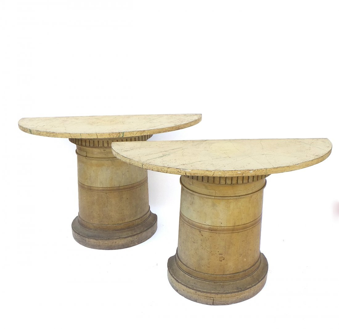Pair of Faux Marble Side Tables