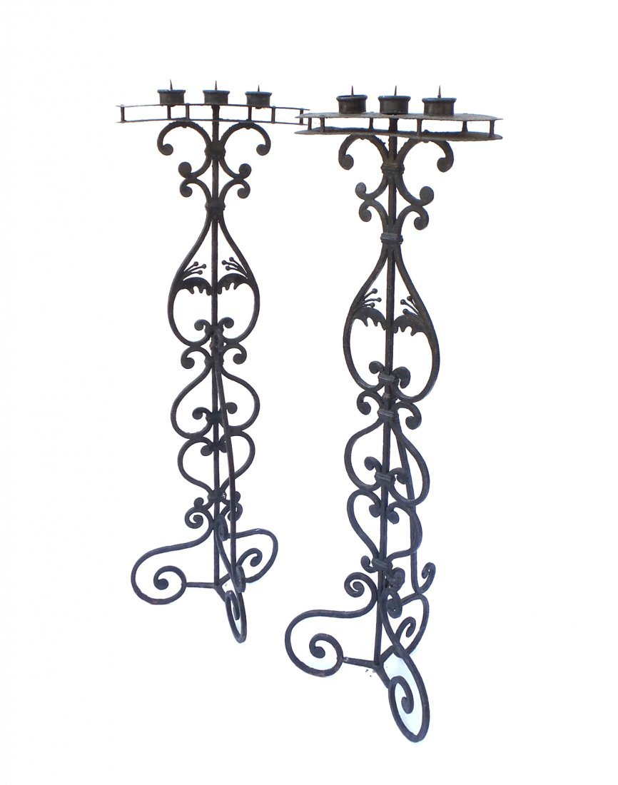 Pair of Wrought Iron Torcheres