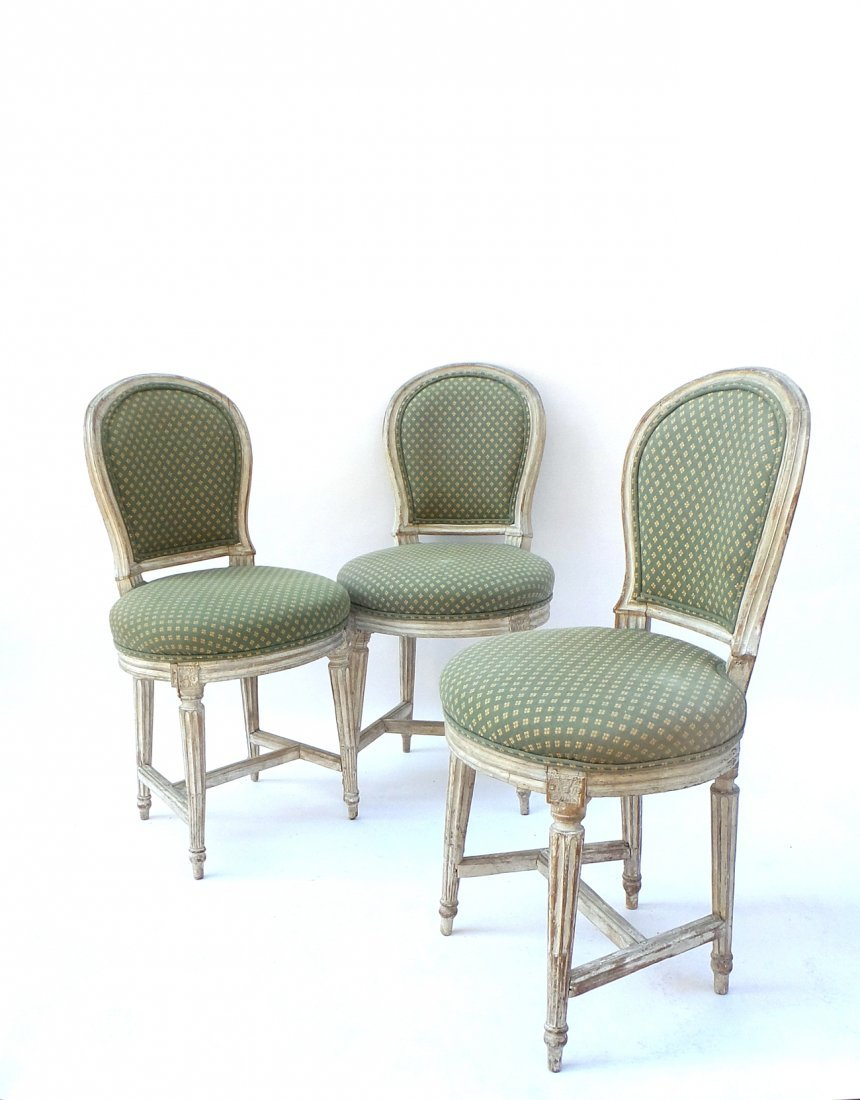3 Louis XVI Painted Side Chairs