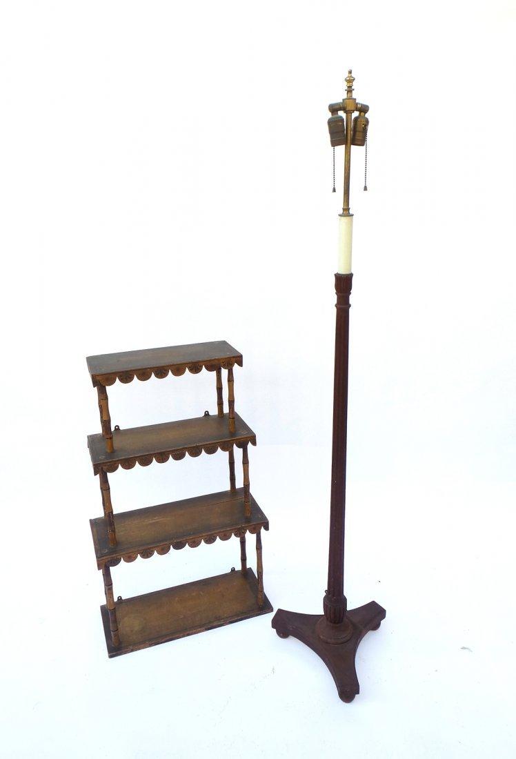Penwork Decorated Wall Shelf, Pole Lamp