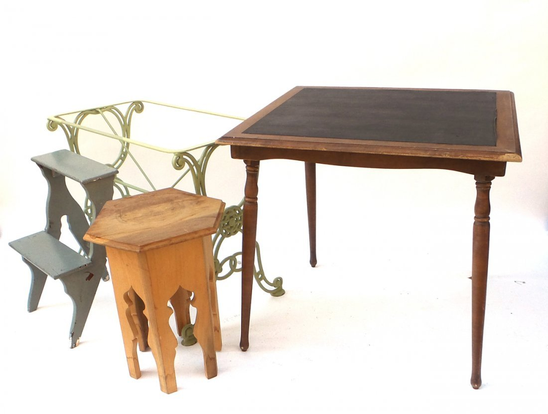 Assorted Articles, Iron Table Base, more