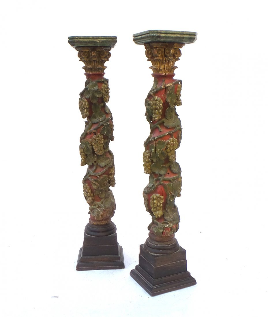Pair of Polychrome Carved Wood Pedestals