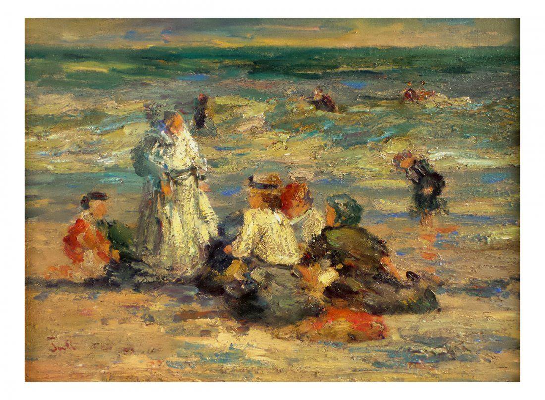 Oil on Canvas, Figures on the Beach