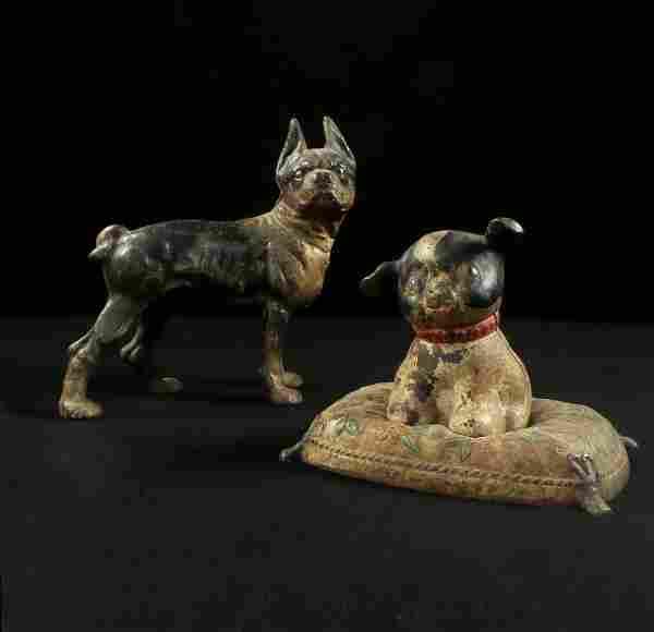2 Polychrome Cast Iron Canine Door Stops