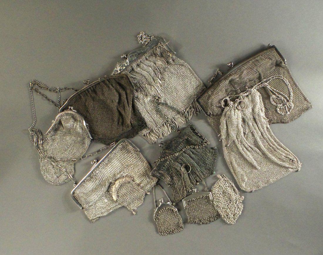 Vintage Ladies Silver Mesh Handbags