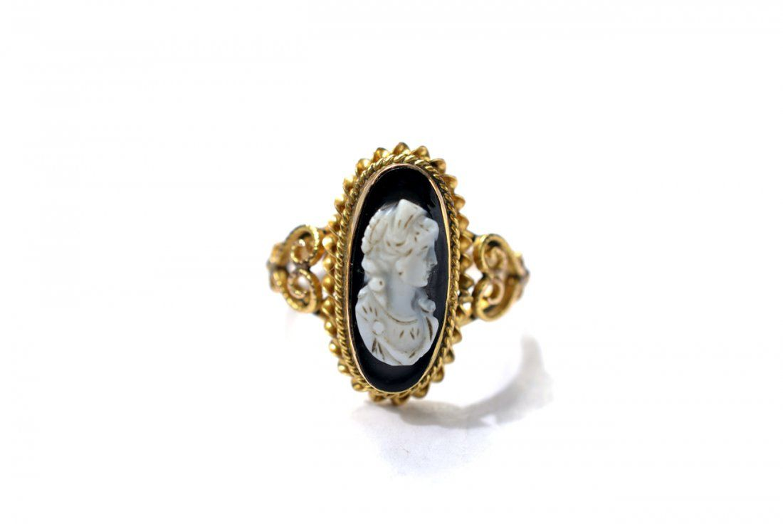 14k Gold Victorian Agate Cameo Ring