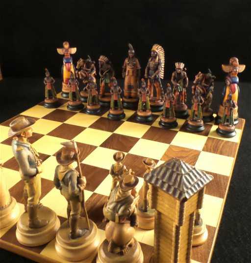 Anri Native American Cavalry Chess Set