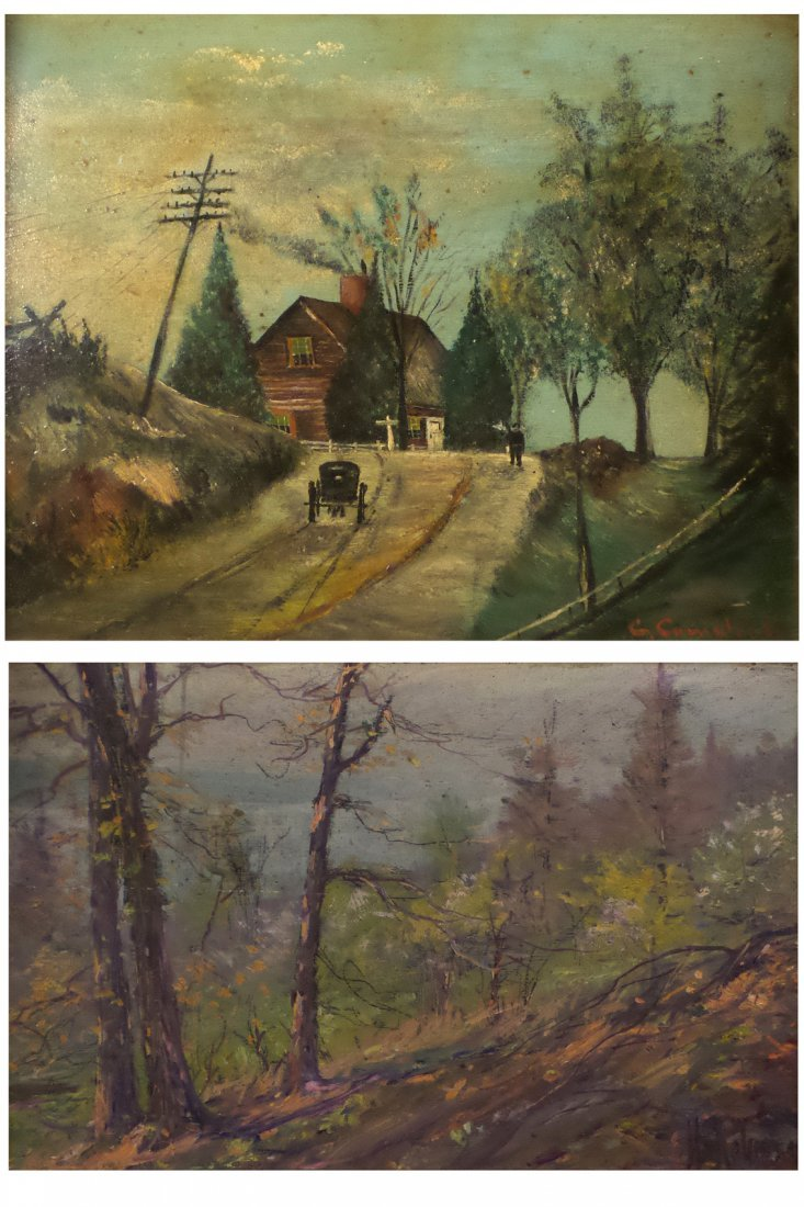 Two Oil Paintings, Village and Landscape