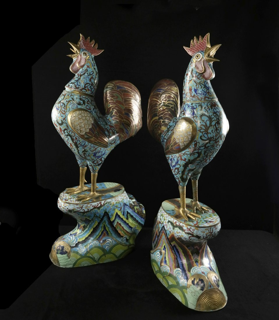 Pair of Chinese Enamel Roosters