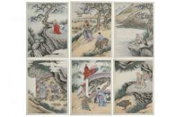 Set of 6 Chinese Watercolors Landscapes