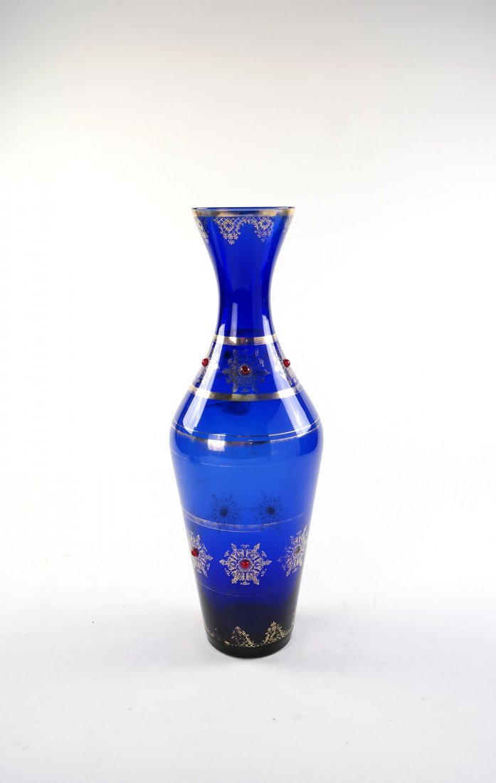 Cobalt Overlay Jeweled Vase